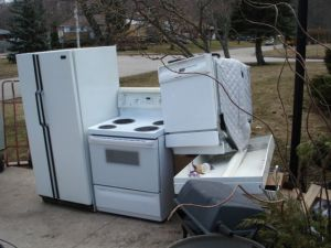 Picture of old electronics and household appliances